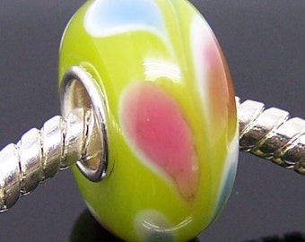 1Pc .925 Murano Glass Charm Bead Fit European Bracelet Necklace Jewelry 14mm x 7.5mm  jaz329
