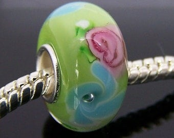 1Pc Murano Glass Lampwork Charm Bead Fit European Bracelet 14mm x 7.5mm  jaz344