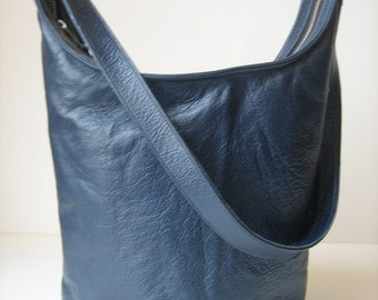 Midnight Blue Leather Hobo