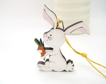 Kids Christmas ornament - bunny kids holiday decor, kids wooden holiday ornament, Christmas gift for boys and girls, children decor