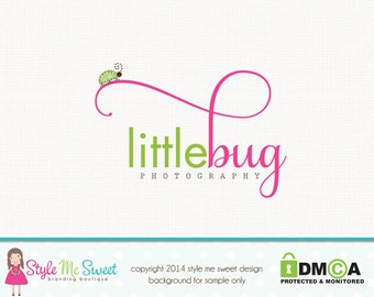 Premade Ladybug Logo Photography Logo Small Business Logo Watermark Logo Hand Drawn