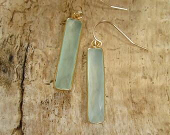 Sea Green Chalcedony Bar Earrings Long Gemstone Drops 14K Gold Fill
