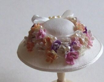 Handmade 1/12 scale dollshouse miniature ivory silk flower hat