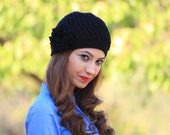Black beanie hat, Women crochet beanie, flower applique hat, black crochet hat, custom made beanie for women