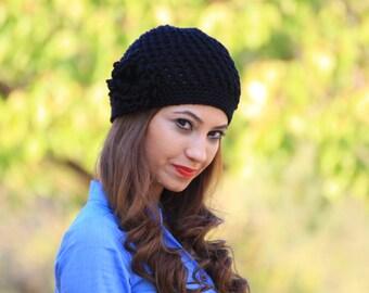 Black beanie hat, Women crochet beanie, flower applique hat, black crochet hat, custom made beanie for women