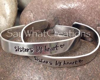"""Hand stamped bracelet set """"sisters by heart"""" best friends bracelets"""