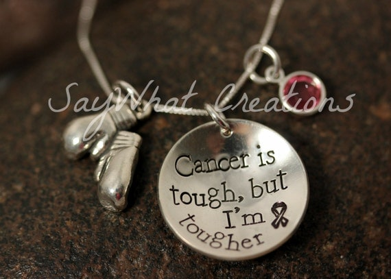 Cancer is Tough but I'm Tougher - Hand Stamped Sterling Silver Boxing Gloves charm necklace for Cancer survivors, fighters, awareness