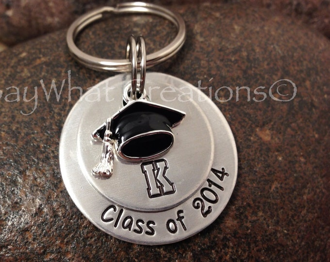 Graduation key chain hand stamped stacked