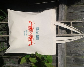 SALE - 25 Tote Bags Custom Printed Tote - Wedding Totes -Lobster