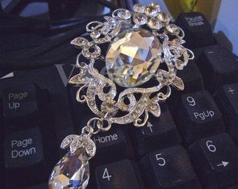1pc Center Focal Point 18KGP Silver Plated Rhinestone Diamond Brooch Button Separators BR002 Spacers Bracelet Necklace Pendant DIY