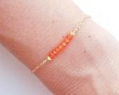 Orange Carnelian Bracelet in Gold