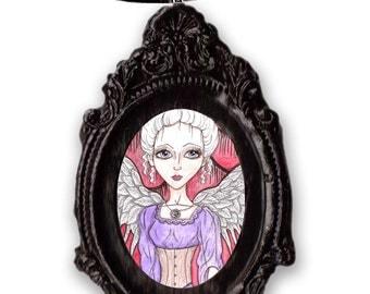 Black ornate frame, Victorian, steampunk Angel artwork, big eyed girl, hand painted illustration, handmade pendant