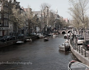 Amsterdam Photography, Fine Art Prints and  Mounted, Amsterdam Houses, Boat, Canal View, Brown Tone, Travel Photography