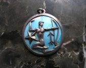 Rare Margot de Taxco large Sterling Silver Enamel Sagittarious sign Pendant