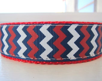 """Patriotic Pup Red White and Blue Chevron 1"""" Adjustable Collar"""