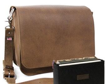 "15"" Brown Belmar Mission Leather Briefcase - Made in America - 15-BR-MIS-FIL"