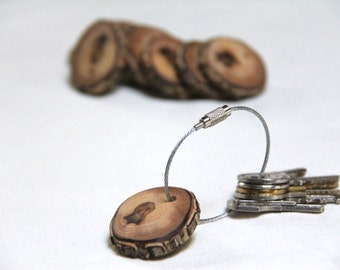 small wood keychain - with screw on steel cable - made with elm