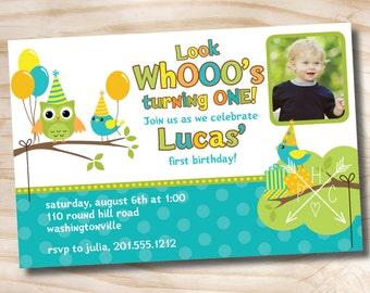 OWL & BIRD Party 1st Birthday Invitation boy, girl, party invitation  Personalized Custom - You Print