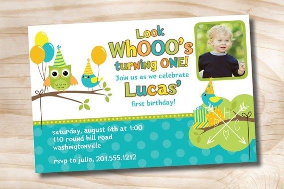 OWL BIRD Party 1st Birthday Invitation Boy Girl Personalized Custom