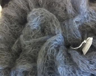 Mohair Scarf Gray Knit Scarf Ruffles Silk made in Colorado