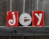 JOY with mini snow primitive and rustic wood decor and gift idea