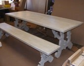 French Shabby Chic Solid OAK Dining Table 2 Inch Thick Top And Bench With A Beautiful Ivory Finish
