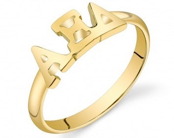 Gold Vermeil Alpha Xi Delta Letter Ring