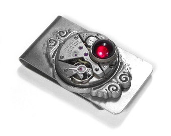 Steampunk Money Clip Vintage Ruby Jewel Watch ORNATE GARNET Mens Steam Punk Anniversary Weddings Valentine - Jewelry by Steampunk Boutique