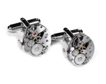 Steampunk Jewelry, Mens Cufflinks VERTICAL Stem Watch Mens Cuff Links Anniversary Groom, Wedding, Birthday Fathers Day -  Steampunk Boutique