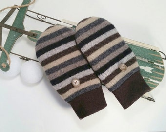 Warm Wool Mittens for older kids or younger teens. Grey, black beige stripes. Fleece lined.