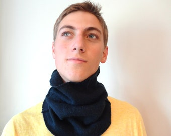 Cashmere Buff NAVY BLUE Gaiter Cowl Neck Warmer Upcycled Sweater Unisex Gift for Men or Women by WormeWoole