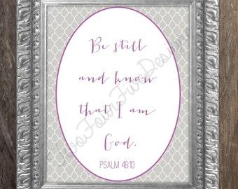 Nursery Scripture Printable Art, Psalm 46:10 wall art, Digital Printable Art