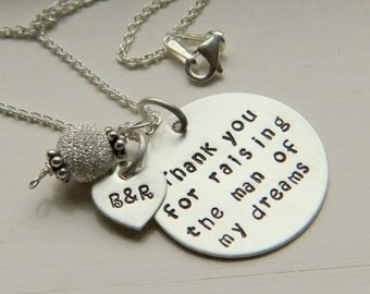 Personalized Necklace Hand Stamped Jewelry - Mother of the Groom Necklace, Solid Sterling Necklace Family Jewelry, Stepmother Gift,