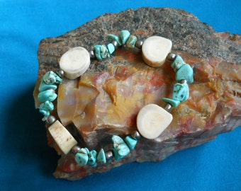 Deer Antler Slices and  Turquoise Beaded Bracelet