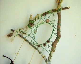 triangular dream catcher weaved in green with wooden beads and a black pod