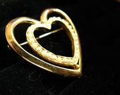 Duo Heart Brooch Gold & Pearl