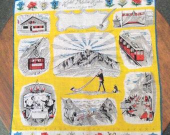 Vtg Souvenir Handkerchief - Swiss Alps   Hotel Pilatus Kuhn
