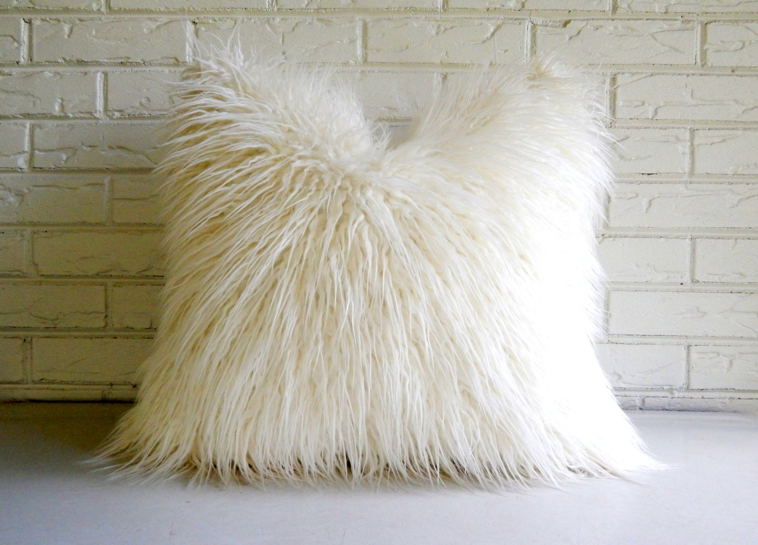 White Shag Pillow Cover Faux Fur Throw Mongolian Lamb
