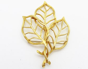 Golden Leaf Viintage Brooch for Fall