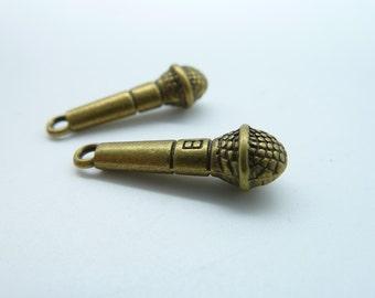 20pcs 5x24mm Antique Bronze Mini 3D Microphone Charm Pendant c847