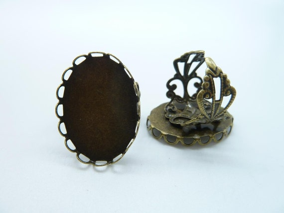 6pcs 18x25mm Antique Bronze Brass Cameo Cabochon Filigree Base Setting Rings C2333