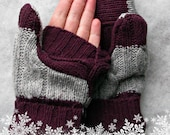 Convertible Fingerless Gray, Dark Purple Stripe, Soft and Warm Felted Wool Mittens 126