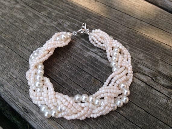 Ivory pearl braided cuff, ivory pearl bracelet, bridesmaids bracelet, ivory bracelet, pearl bracelet, statement bracelet, elegant bracelet