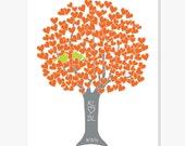 Love Birds Personalized - Tree in Orange Grey & Green - Art Print Digital Print Monogram Date - Engagement Shower Anniversary