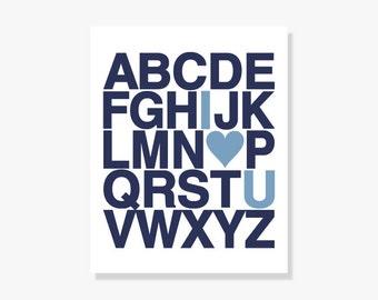 Nursery Decor Alphabet Poster - Personalized Children Baby Boy Typography Print Navy Blue w Heart - Digital Print Poster