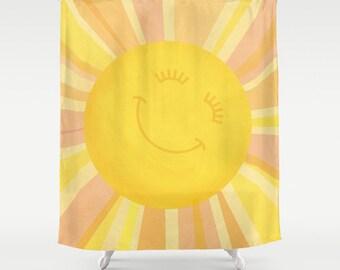Kids Shower Curtain, Sun Theme Shower Curtain, Yellow Kids Shower Curtain, Sun Shower Curtain