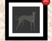 Happy Greyhound PDF cross stitch pattern