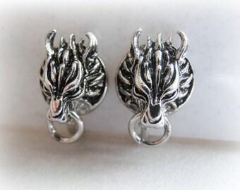 Cloud Wolf Stud Earrings in Vermeil - Fenrir Custom order studs - Final Fantasy 925 with gold plating - Werewolf Jewelry - Werewolf Studs