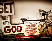 bicycle art, outsider art, campy folk art photo, bike photograph, outer space message, Get right with God