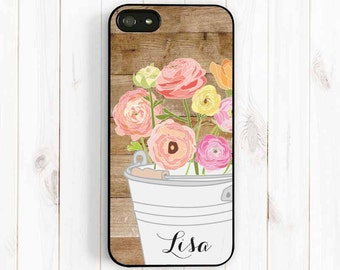 Spring Flower iPhone Case, Printed Image Wood Personalized Monogram iPhone case, Note 3, iPhone 7 5s c iPhone 6, Samsung Galaxy S4 S5 Np37